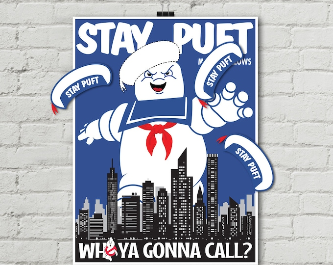 """Ghost-buster Game """"Pin the Hat on Stay Puft Marshmallow Man"""" Game, Ghost-buster Party Game 