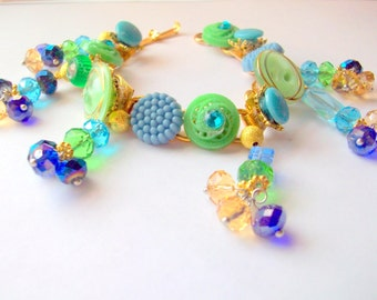 Vintage Repurposed Buttons Bracelet Lime Green Ocean Blue