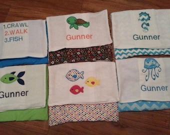 Custom Handmade Embroidered Burp Cloths