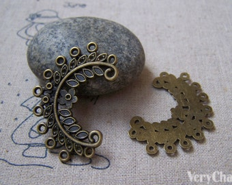 20 pcs of Antique Bronze Filigree Chandelier Earring Pendant Charms 25x39mm A5066