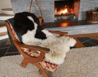 Real Jacob Sheepskin rug-pelt-100% natural-off white/dark brown -SUPER SOFT -soft tanned-ready for shipping -Made In Ireland