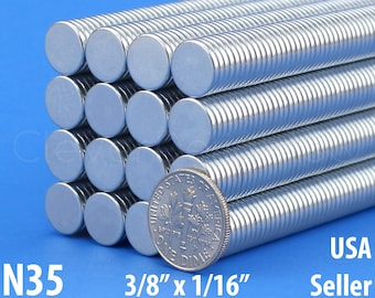 "50 3/8"" x 1/16"" Neodymium Magnets - N35 - Super Strong Rare Earth Disc Magnets - Fridge Scientific Magnets - 10mm x 1.5mm - .375 Inch"