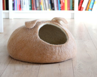 Small dog bed - wool dog bed - pet cave - tan dog bed - made to order - unique gift - gift for pets - wool pet bed - pet cave