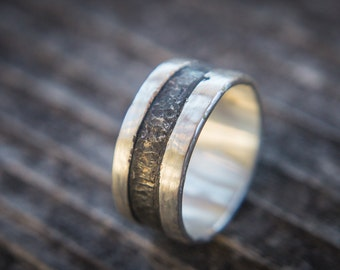 Rustic Copper Mens Ring, Mens Wedding Ring, Mens Wedding Band, Unique Mens Ring, Shibuichi Ring, Rugged Ring, Mens Rustic Band