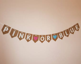 PINK OR BLUE Bunting, Gender Reveal banner. Baby Shower decorations. Hanging Garland pink blue girl or boy. Mom to be party