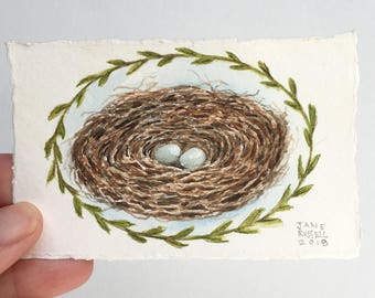 Tiny Love Nest No.3 Original Watercolor Painting Free Shipping