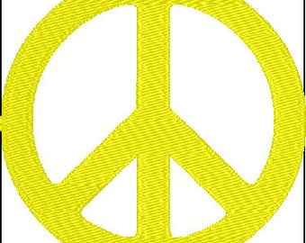 Peace Sign Symbol Embroidery Design