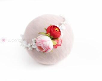 Valentine Flower Crown, Valentines Flower Crown, Valentines Headband, Baby Valentines Headband, Red Pink Headband, Red Flower Headband