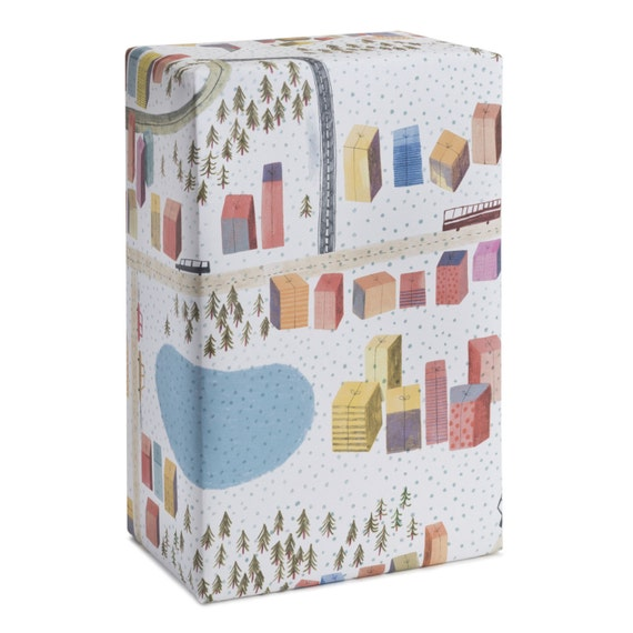 CHRISTMAS TOWN. Wrapping paper. Naive style. Holiday wrap for children, teachers, grandmother, mother, girlfriend, little brother, sister