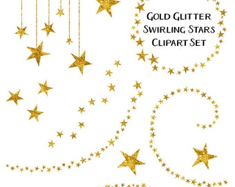 Star Clipart, Glitter Clip Art, Gold Star Clipart, Gold Clip Art, Digital Download, Commercial Use