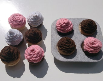 Twisted swirl felt cupcakes