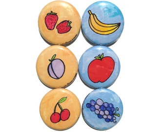 Fruit Magnets or Pinback Buttons - Kitchen Magnets or Pins Set - Apple, Strawberries, Banana, Grapes, Cherries, Healthy Food Fridge Magnet