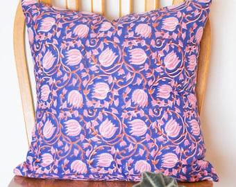 Block print decorative pillow - Throw pillow covers - Floral cushions - block print fabric - Urban Jungle decor -Pink Lotus pillow - 18x18