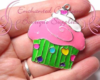 "2"" Pink, Green and Multicolor Sweet Treat Cupcake, Chunky Pendant, Bookmark, KeyChain, Bookmark, Zipper Pull, Planner Charm, Purse Charm"
