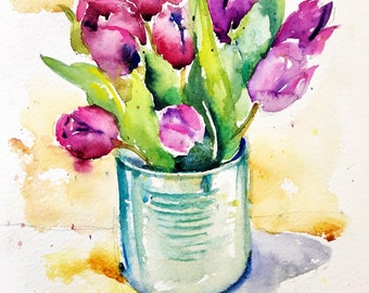"""Original watercolor - """"Bouquet of tulips"""" free shipping (watercolor still life Pink Purple tulips box original gift spring)"""