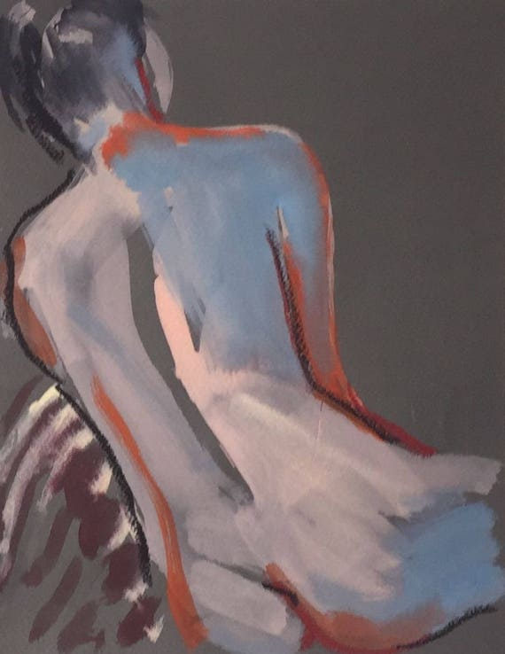 Nude painting- Original watercolor painting of Nude #1500 by Gretchen Kelly