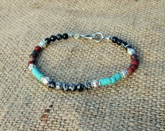 Native American Bracelet Southwestern Jewelry, Tribal Bracelet, Boho Jewelry, snowflake obsidian, turquoise, red jasper, black agate