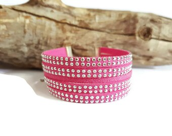Rhinestones and pink suede Cuff Bracelet