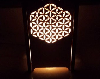 Table lamp, Desk lamp, NIght light, lantern, laser cut candle box,  luminary, candle holder, flower of life