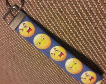 Angry grumpy smiley emoji fabric key chain fob key chain wristlet