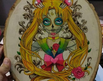 Sailormoon woodburned piece