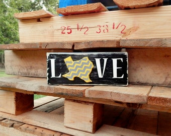 Yellow and Grey Texas Love Sign, Texas Love Sign, Rustic Texas Love, Rustic Love Sign, Gray and Yellow, Wooden love sign, Texas Decor