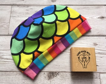 Child's hat, baby hat, rainbow stripe and rainbow scales beanie hat 3-6 months