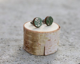 Olive Green Gold Sparkle Geometric Wood Earrings // Gold Earrings // Wood Earrings // Circle Earrings // Glitter Studs