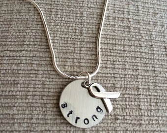 Strong + Awareness Ribbon Necklace on Sterling Silver Chain