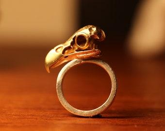 Sterling Silver Handmade Brass Bird Head Ring
