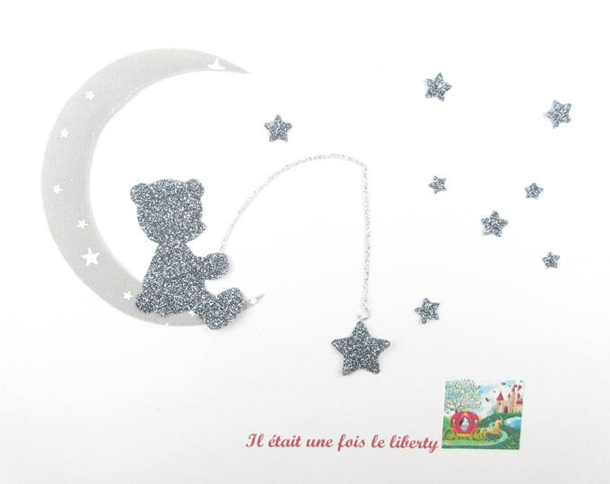 Applique bear thermofusible peach star starry gray fabric & glitter flex fusible pattern Teddy bear applique teddy bear iron on patches