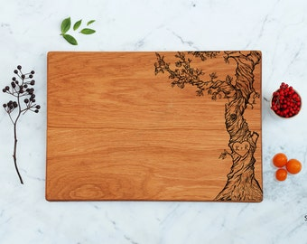 Custom Cutting Board Personalized Couple Initials Monogram Engraved Tree, Valentines Day, Unique Wedding Engagement Gift Idea New Home Gifts