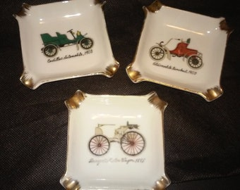 Vintage Royal Crown Automobile Ashtrays, Set of 3