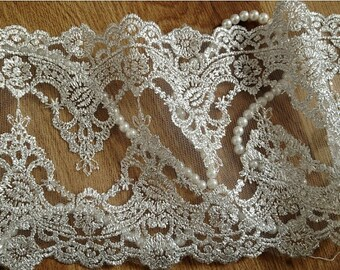 silver Lace Trim, scollaped lace, bridal trim lace, vintage lace, wedding trim lace, embroidered lace fabric