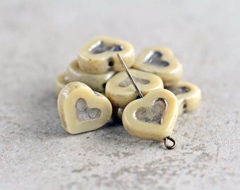Ivory & silver heart beads, Picasso Table Cut heart beads, Czech glass heart beads, 14x12mm, Ivory and antique silver finish  (6pcs) NEW