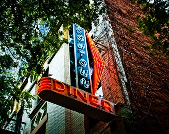 Fort Worth Texas Neon Sign - Sundance Square - Plaza Hotel - Cowtown Diner