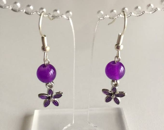 Purple flower earrings