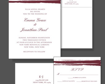 Marsala Wedding Invitation Suite - Custom Greenery Wedding Invitaiton