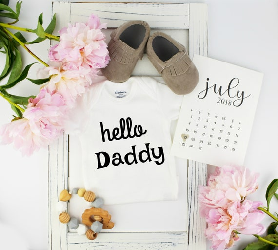 Hello Dad Onesie / Baby Announcement with Calendar
