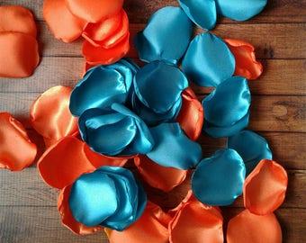 Turquoise petals, turquoise wedding, orange rose petals, orange petals, orange wedding, petals, rose petals, scatter petals, fake petals.