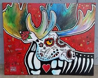 Dia de los Muertos Moose (Original Painting); Halloween, trick or treat, sugar skull, macabre, acrylic on canvas, Missoula, Montana wildlife