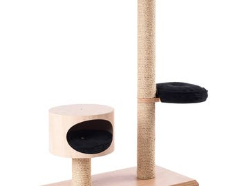 Cat tree, scratching post - solid, stable, heavy, wood, cat furniture, cat accesories, comfortable, cat house