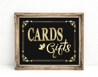 Cards and Gifts Wedding sign | 1920s wedding decorations, Black Gold Party Decor, Birthday sign, Anniversary, Retirement, Cards Gifts Sign
