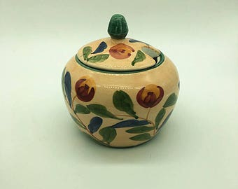 Vintage Ceramice hand painted sugar bowl with floral patten--Vintage Ceramice sugar bowl-Sugar Bowl Ceramic with Lid
