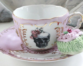 Pink & Gold Rose Skull Bride / Groom Skull Teacup and Saucer, Available as Tea Set, Goth Wedding Couple Cup, Steampunk Wedding, Wedding Tea