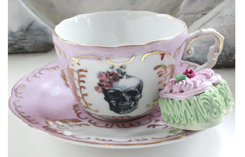 Pink Gold Skull Rose Bride Groom Tea Cup And Saucer