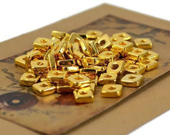 6mm Square Washer - 24 Karat Gold - Mykonos Greek Ceramic Beads - QTY: 18, 50 or 100