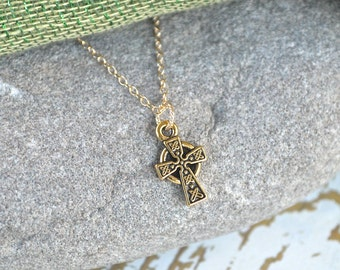 Irish Celtic Cross Gold Necklace