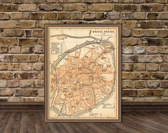 Old map of Bruges - Bruges map  archival print - 15 x 20""