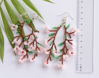 Sakura flowers beaded earrings Dangle cherry blossom for Sakura Festival 4.3 inches length